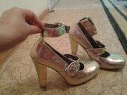 туфли женские 37 размер, цвет хамелеон(серебро, голубой, розовый)