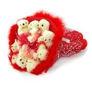 Мягкий букет - 9 Мишек Красные