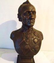 Бюст Суворова. Медь,  1980 год,  скульптор Баганов Н.С.