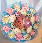 Букеты из шок яиц,  игрушек в подарок девушке,  подруге,  коллеге,  сестре