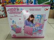 Кроватка для кукол+Пупсик/Кровать для куклы/Детская кровать для игр